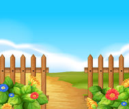 Scene with wooden fence and field Stock Photos