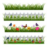 Scene with wooden fence and flowers. Illustration of Scene with wooden fence and flowers Royalty Free Stock Photography