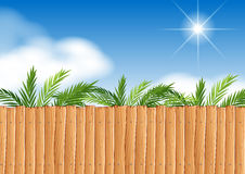 Scene with wooden fence and tree. Illustration Stock Photo