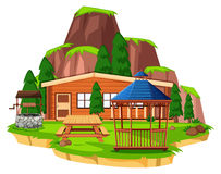 Scene with wooden house and field. Illustration Royalty Free Stock Photography