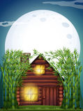 Scene with wooden hut at night. Illustration Stock Images
