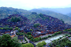 The scene of Xijiang Miao minority village Royalty Free Stock Images