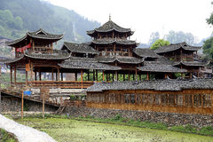 The scene of Xijiang Miao minority village Stock Photos