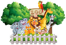 Scene with zoo animals and sign. Illustration Royalty Free Stock Photography