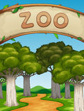 Scene with zoo and trees. Illustration Royalty Free Stock Photo