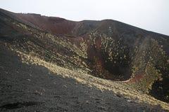 Sceneria i kratery Mt Góry Etna wulkan w akci Obrazy Stock