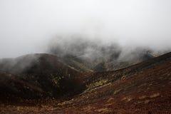 Sceneria i lawowi pola Mt Góry Etna wulkan w akci Zdjęcie Royalty Free