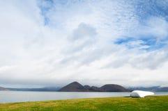 Sceneria jeziorny Toya z Nakajima wyspy widokiem, hokkaido Obraz Stock