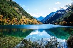 Sceneria jezioro w lesie z Kolorowymi liśćmi i górą w jesieni Zdjęcie Royalty Free