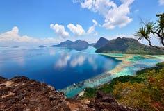 Sceneria na górze Bohey Dulang wyspy blisko Sipadan wyspy Obrazy Royalty Free
