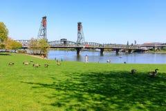 Sceneria Tom McCall nabrzeża park w w centrum Portland Obraz Royalty Free