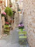 Sceneria w średniowiecznej wiosce w śródziemnomorskim terenie Zdjęcie Stock