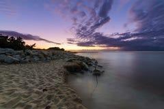 Sceneria zmierzch na morzu, Długi ujawnienie Zdjęcie Royalty Free
