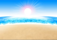 Scenery. Sun rise and beach scenery designed by illustration Royalty Free Stock Images