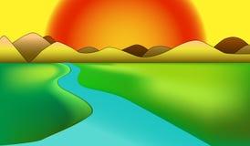 Illustration of a scenery with big sunshine vector illustration