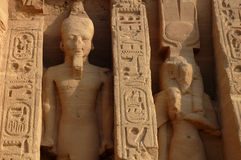 Scenery at Abu Simbel,Egypt. Scenery of the ancient huge statues and writings at Abu Simbel,Egypt stock images