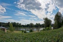 Scenery along the river Vltava. Wide landcape photo of scenery along the Vltava river with dramatic sky Royalty Free Stock Photo