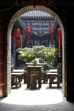 Scenery of ancient garden. Here is the courtyard chatting and drinking tea in ancient times Royalty Free Stock Image
