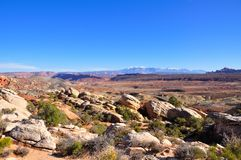 Scenery in Arches National Park. With la Sal mountains in background, near Moab, Utah Stock Photo