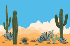 Scenery of the arid desert. Landscape of a valley with Saguaro cacti. View of mountains, clear blue sky background. Scenery of the arid desert. Landscape with Stock Photo
