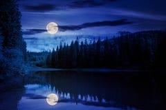 Scenery Around The Lake In Mountains At Night Stock Photos