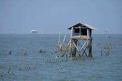 Scenery of Bang Ta Boon Bay. Scenery of Bang Ta Boon Bay at Phetchaburi Province, Thailand royalty free stock photos