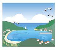 Scenery of bay and harbor vector illustration