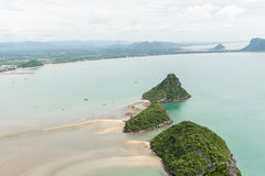 Scenery of beach and island from Khao Lom Muak viewpoint. Scenery of beach and island from Khao Lom Muak viewpoint, Prachuap khiri khan, Thailand Royalty Free Stock Image