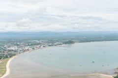 Scenery of beach and island from Khao Lom Muak viewpoint, Prachuap khiri khan, Thailand.  Stock Photo