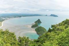 Scenery of beach and sea from Khao Lom Muak viewpoint, Prachuap khiri khan, Thailand.  Stock Photos