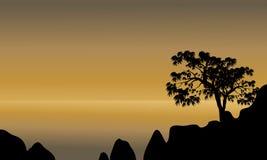 Scenery beach of silhouette Royalty Free Stock Photo