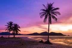 The scenery of the beach in sunset. Scenery of golden beach early morning in sunrise over sea and orange sky above it.Sea south Thailand,Koh Yao Yai,Phang Nga royalty free stock photos