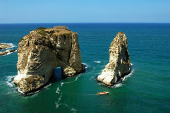 Scenery in Beirut Lebanon. Scenery of the famous Pigeon Rocks in Beirut,Lebanon Royalty Free Stock Images