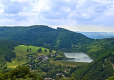 Scenery of Belgian Ardennes. From bird's eyes view royalty free stock image