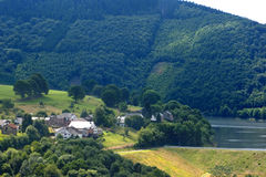 Scenery of Belgian Ardennes. From bird's eyes view royalty free stock photos