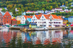 Scenery of Bergen, Norway. Scenic summer panorama of the Old Town pier architecture of Bryggen in Bergen, Norway Royalty Free Stock Image