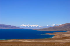 Scenery of blue lake and snow mountains Royalty Free Stock Images