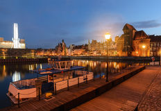 Scenery with boats in old town of Gdansk in the evening Royalty Free Stock Images
