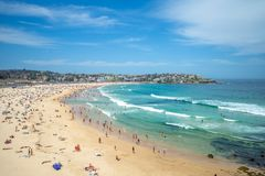 Scenery of bondi beach near sydney in australia. Bondi Beach is located 7 km 4 mi east of the Sydney central business district, in the local government area of royalty free stock images