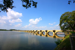 Scenery bridge. A beautiful bridge named kallanai in trichy, tamilnadu royalty free stock images