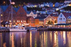 Scenery of Bryggen in Bergen, Norway Stock Photo