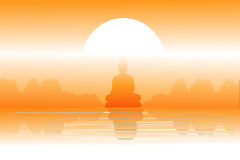 Scenery and Buddha image. Royalty Free Stock Photo