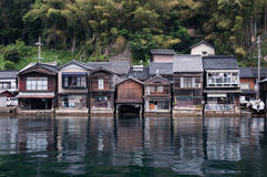 Scenery of buildings at Ine. Kyoto prefecture, Japan. These buildings are well preserved in the law of Japan. Buildings are built connected to water Stock Images