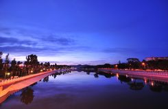 Scenery categories: Frontier Yanagawa River night. Eastphoto, tukuchina,  Scenery categories: Frontier Yanagawa River night Royalty Free Stock Images