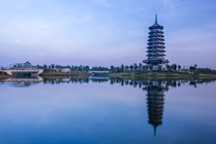Scenery categories: Nanning five as the Lake five as the tower stock images