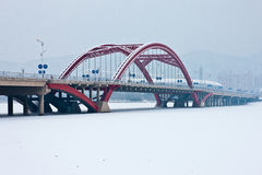 Scenery category: After Snow Ice. Eastphoto, tukuchina, Scenery category: After Snow Ice, Transportation, Bridge Royalty Free Stock Photos