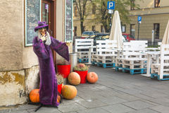 Scenery for celebrating Halloween in Krakow. Stock Photos