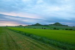 Scenery in Central Bohemian Highlands, Czech Republic. Central Bohemian Uplands  is a mountain range located in northern Bohemia. The range is about 80 km long royalty free stock images