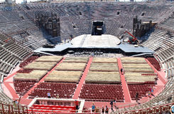 Scenery construction in old Verona Arena, Italy Stock Photo