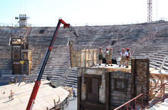 Scenery construction in the Verona Arena, Italy Stock Images